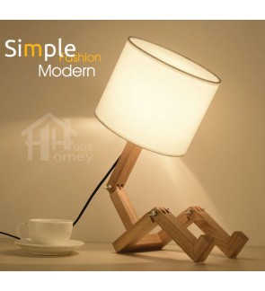 HH Minimalist 1-Light Transformable Wooden Table Lamp with Fabric Drum Shade