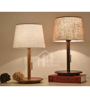HH Minimalist 1-Light Wooden Table Lamp with Fabric Tapered Drum Shade
