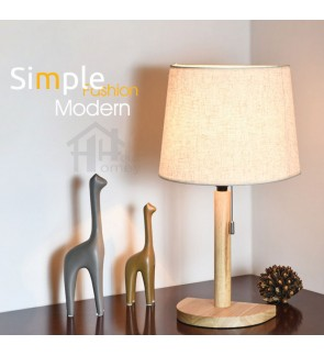 HH Minimalist 1-Light Wooden Table Lamp with Fabric Half Tapered Drum Shade
