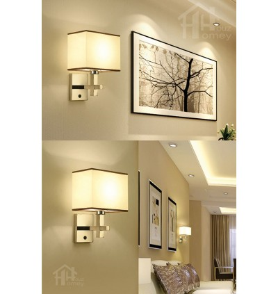 HH Asian-Zen 1-Light Silver Metal Wall Light with White Fabric Rectangle Shade