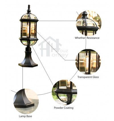 HH Black Colour Pillar Light with Hexagon Glass Shade