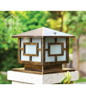 HH European Style Pillar Light with Square Acrylic Shade
