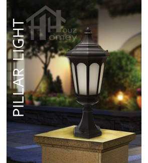 HH Black Colour Light Luxury Style Tall Pillar Light with Octagon Glass Shade