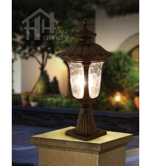 HH European Style Lotus Pillar Light with Glass Shade