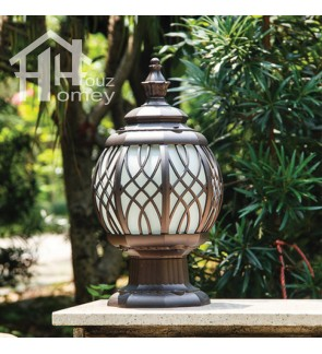 HH Bollard Traditional Pillar Light with Glass Shade
