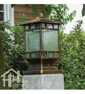 HH Trend Style Tall Pillar Light with Glass Shade
