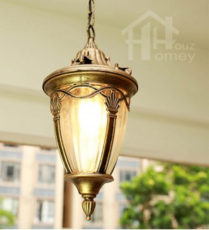 HH Metal Ceiling Semi-Flushmount with Curved Glass Shade