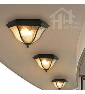 HH Metal Ceiling Flushmount with Glass Shade