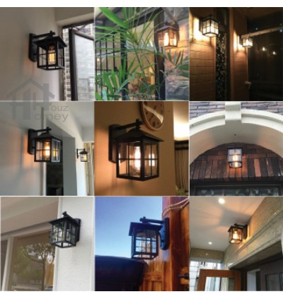 HH 1-Light Metal Outdoor Wall Light with Clear Glass Square Bracket
