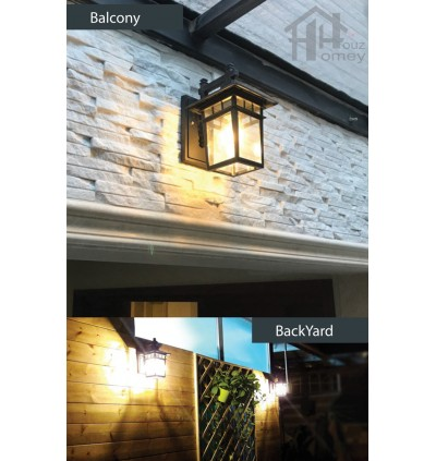 HH 1-Light Metal Outdoor Wall Light with Clear Glass Rectangle Bracket