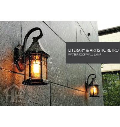 HH 1-Light Metal Outdoor Wall Light with Water Droplets Glass Castle Bracket