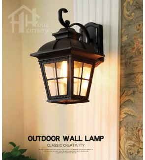 HH 1-Light Metal Outdoor Wall Light with Clear Glass Tapered Square Shade