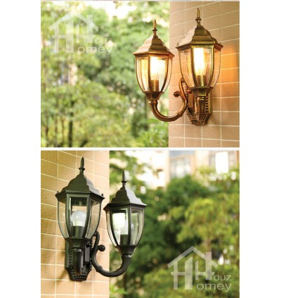 HH 2-Light Metal Outer Bend Outdoor Wall Light with Clear Glass Shade