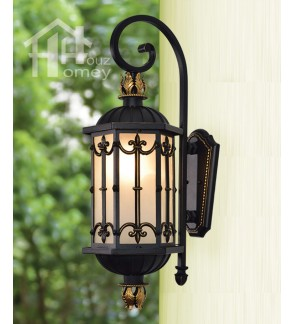 HH Euro Blade 1-Light Black Metal Outdoor Wall Light with Hexagonal Shade