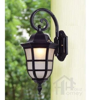 HH Euro Blade 1-Light Black Metal Outdoor Wall Light with Tapered Cylinder Shade
