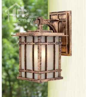 HH Euro Blade 1-Light Bronze Colour Metal Outdoor Wall Light with Cube Shade