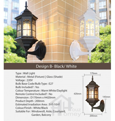 HH 1-Light Metal Wall Light with Clear Glass Castle Bracket