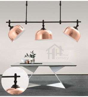 HH Metallic 3-Light Adjustable Rosy Golden Pendant