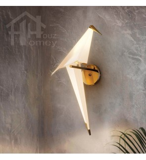 HH Metallic Gold Colour Origami Wall Light with PP Paper Crane Shade