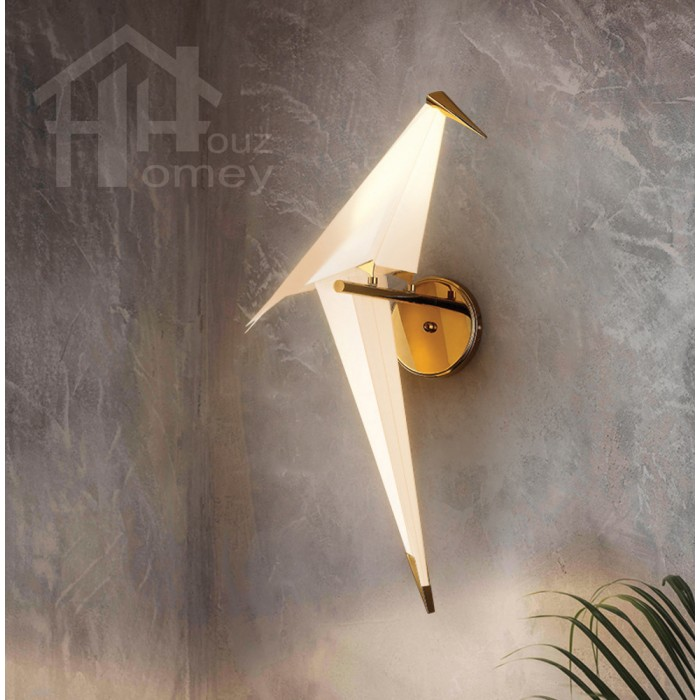 Hh Metallic Gold Colour Origami Wall Light With Pp Paper