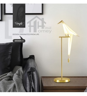 HH Metallic Origami Table Lamp with White PP Paper Crane Shade