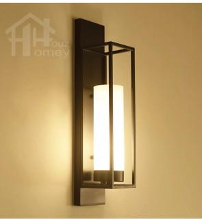 HH Asian-Zen 1-Light Black Metal Wall Light with Glass Tube Shade