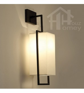HH Asian-Zen 1-Light Serenity Wall Light with White Fabric Shade