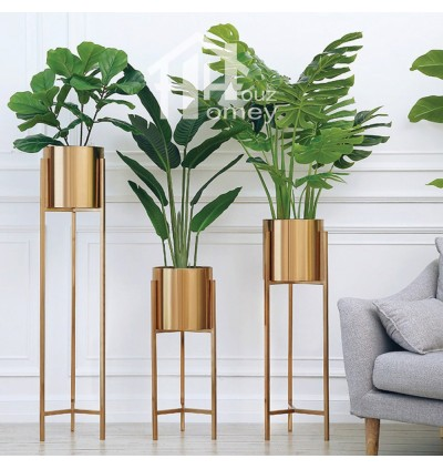 HH Gold Colour Electroplated Metal Planter Pot with Metal Stand