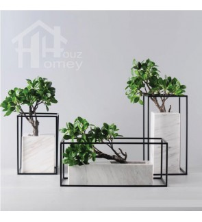HH White Colour Marble Planter Pot with Black Colour Planter Rack