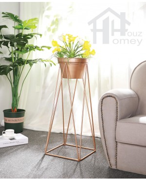 HH Advo Gold Colour Metal Planter Pot with Metal Stand