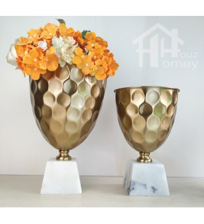 HH Gold Colour Electroplated Metal Planter Pot with White Marble Cube Base