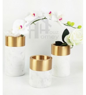 HH Gold Colour Electroplated Metal Planter Pot with White Marble Round Base