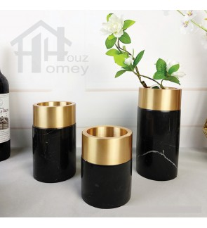 HH Gold Colour Electroplated Metal Planter Pot with Black Marble Round Base