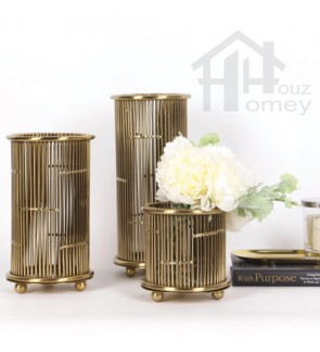 HH Gold Colour Metal Railing Planter Pot