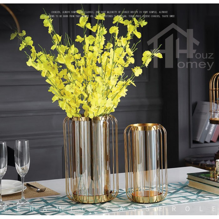 Hh Gold Colour Electroplated Metal Lantern Planter Pot With Glass Vase