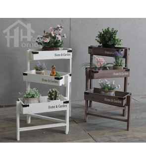 HH Wooden Adjustable Rectangle Planter Rack with Planter Pot