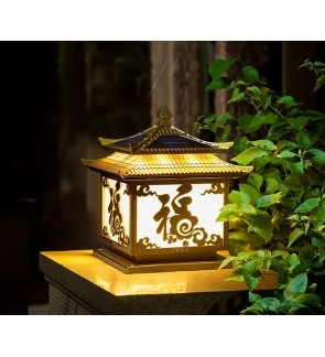 HH Asian-Zen Double Roof Solar Powered Pillar Light