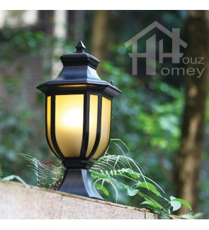 HH Octagon Pake-Dandun Courtyard Matte Black Pillar Light