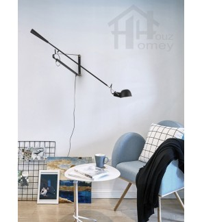 HH Retro 1-Light Matte Black Loft Style Swing Arm Wall Light
