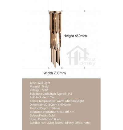 HH Metallic 3-Light Gold Luxury Wall Light