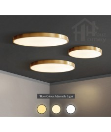 HH Metallic Integrated LED Full Brass Ceiling Flushmount